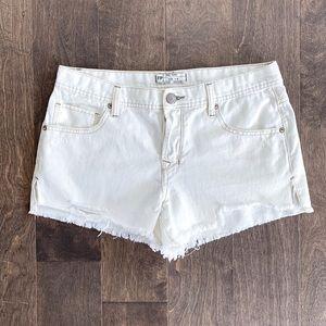 Free People White Frayed High Waisted Shorts